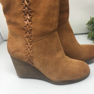 Lucky Brand Shoes - Lucky Brand tall boots brown suede wedge 8